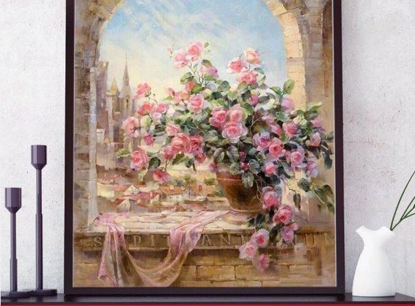 pictura-pe-numere-trandafiri-roz